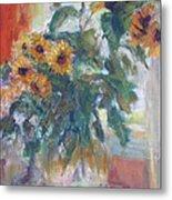 Sale - Sunflowers In Window Light - Original Impressionist - Large Oil Painting Metal Print