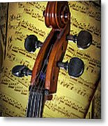 Cello Scroll With Sheet Music Metal Print