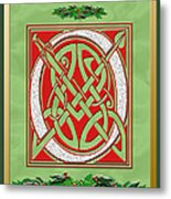 Celtic Christimas O Initial Metal Print