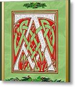 Celtic Christmas A Initial Metal Print