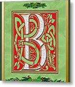 Celtic Christmas B Initial Metal Print