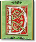 Celtic Christmas D Initial Metal Print