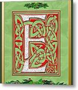 Celtic Christmas E Initial Metal Print