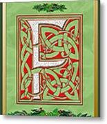 Celtic Christmas F Initial Metal Print