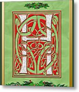 Celtic Christmas H Initial Metal Print
