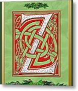 Celtic Christmas Initial Z Metal Print