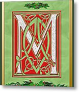 Celtic Christmas M Initial Metal Print