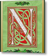 Celtic Christmas N Initial Metal Print