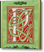 Celtic Christmas P Initial Metal Print