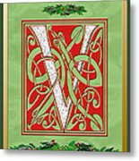 Celtic Christmas V Initial Metal Print