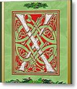Celtic Christmas X Initial Metal Print