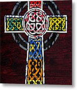 Celtic Cross License Plate Art Recycled Mosaic On Wood Board Metal Print