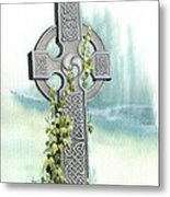 Celtic Cross With Ivy II Metal Print