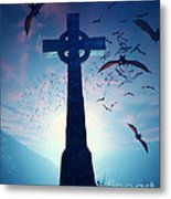 Celtic Cross With Swarm Of Bats Metal Print