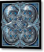 Celtic Hearts - Blue And Silver Metal Print