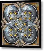 Celtic Hearts - Gold And Silver Metal Print by Richard Barnes