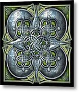 Celtic Hearts - Green And Silver Metal Print