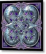 Celtic Hearts - Purple And Silver Metal Print