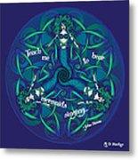 Celtic Mermaid Mandala In Blue And Green Metal Print