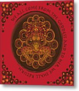 Celtic Pagan Fertility Goddess In Red Metal Print