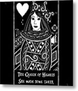 Celtic Queen Of Hearts Part I In Black And White Metal Print
