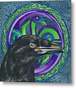 Celtic Raven Metal Print