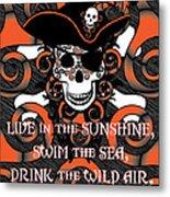 Celtic Spiral Pirate In Orange And Black Metal Print