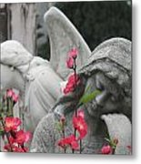 Cemetery Stone Angels And Flowers Metal Print