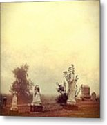 Cemetery In The Fog Metal Print