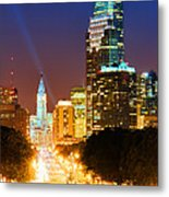 Center City Philadelphia Night Metal Print by Olivier Le Queinec