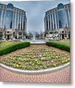 Center Fountain Piece In Piedmont Plaza Charlotte Nc Metal Print