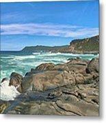 Central Coast Ca Ocean Waves Crashing On Rocks  4 Metal Print