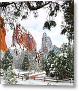 Central Garden Of The Gods After A Fresh Snowfall Metal Print by John Hoffman