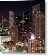 Central Houston At Night Metal Print