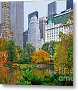 Central Park And Fifth Autumn View Metal Print