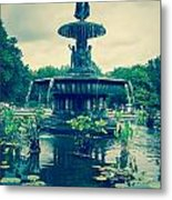 Central Park Fountain Metal Print
