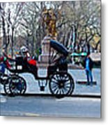 Central Park Horse Carriage Station Panorama Metal Print