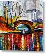 Central Park - Palette Knife Oil Painting On Canvas By Leonid Afremov Metal Print