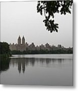 Central Park Reservoir With Reflection Nyc Metal Print