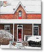 Century Home With Christmas Wreath Metal Print