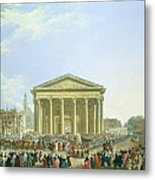 Ceremony Of Laying The First Stone Of The New Church Of St. Genevieve In 1763, 1764 Oil On Canvas Metal Print