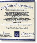 Certificate Of Appreciation Metal Print