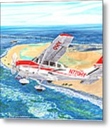 Cessna 206 Flying Over The Outer Banks Metal Print
