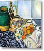 Cezanne Still Life With Apples In Watercolor Metal Print