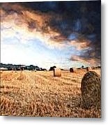 Cezanne Style Digital Painting Beautiful Golden Hour Hay Bales Sunset Landscape Metal Print