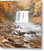 Cezanne Style Digital Painting Beautiful Woodland Stream And Waterfall In Summer Metal Print