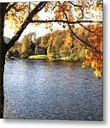 Cezanne Style Digital Painting Lake Landscape Autumn Fall Metal Print