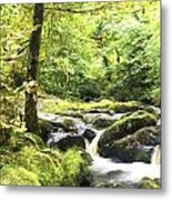 Cezanne Style Digital Painting Landscape Of Becky Falls Waterfall In Dartmoor National Park Eng Metal Print