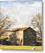 Cezanne Style Digital Painting Panorama Landscape Traditional Stone Barn In Autumnal Countrysid Metal Print