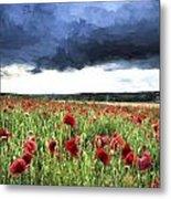 Cezanne Style Digital Painting Stunning Poppy Field Landscape In Summer Sunset Light Metal Print
